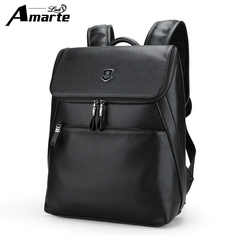 Amarte Brand 2018 Preppy Style Leather School Backpack Bag for College Simple Design Men Casual Daypacks Mochila Male New комплект белья tete a tete classic лаура евро наволочки 70х70 цвет белый розовый коричневый