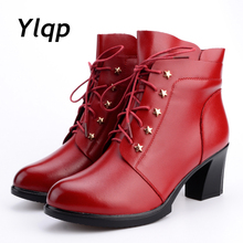 2018 New High-heeled Genuine Leather Women Winter Boots with Warm Plush Ladies Shoes Martin Boots High-quality Female Snow Boots
