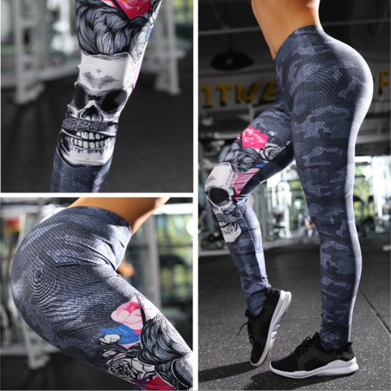 High Quality Women Fitness Legings High Elastic Camouflage Skull Head Printed   Legging   Summer Slimming Women Leisure Jegging Pant