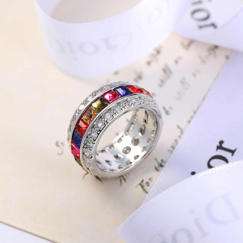 2019 แฟชั่นผู้หญิงแหวน Cubic Zirconia คริสตัลคริสตัลแหวน Rhinestone เครื่องประดับหญิงสาวของขวัญ