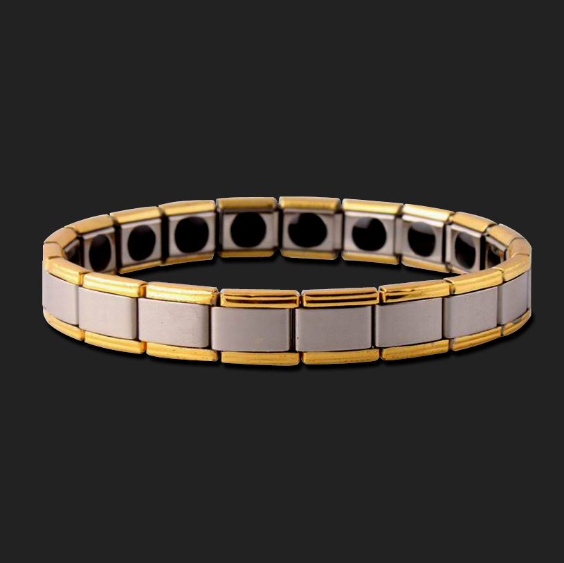 1PCS Stainless steel germanium plated gold bracelet titanium jewelry energy Manillas Para Mujer ALQG103