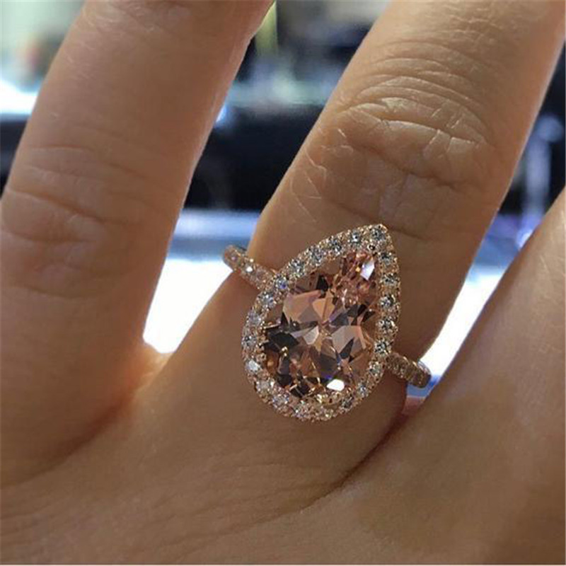 ZORCVENS Zircon Ring Jewelry Stone Champagne Engagement Rose-Gold-Color Elegant Women