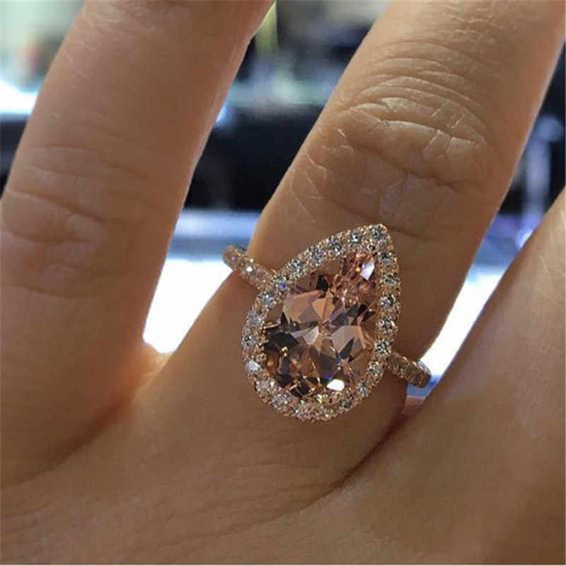 ZORCVENS Elegant Zircon Ring Jewelry Rose Gold Color Champagne CZ Stone Engagement Wedding Ring for Women
