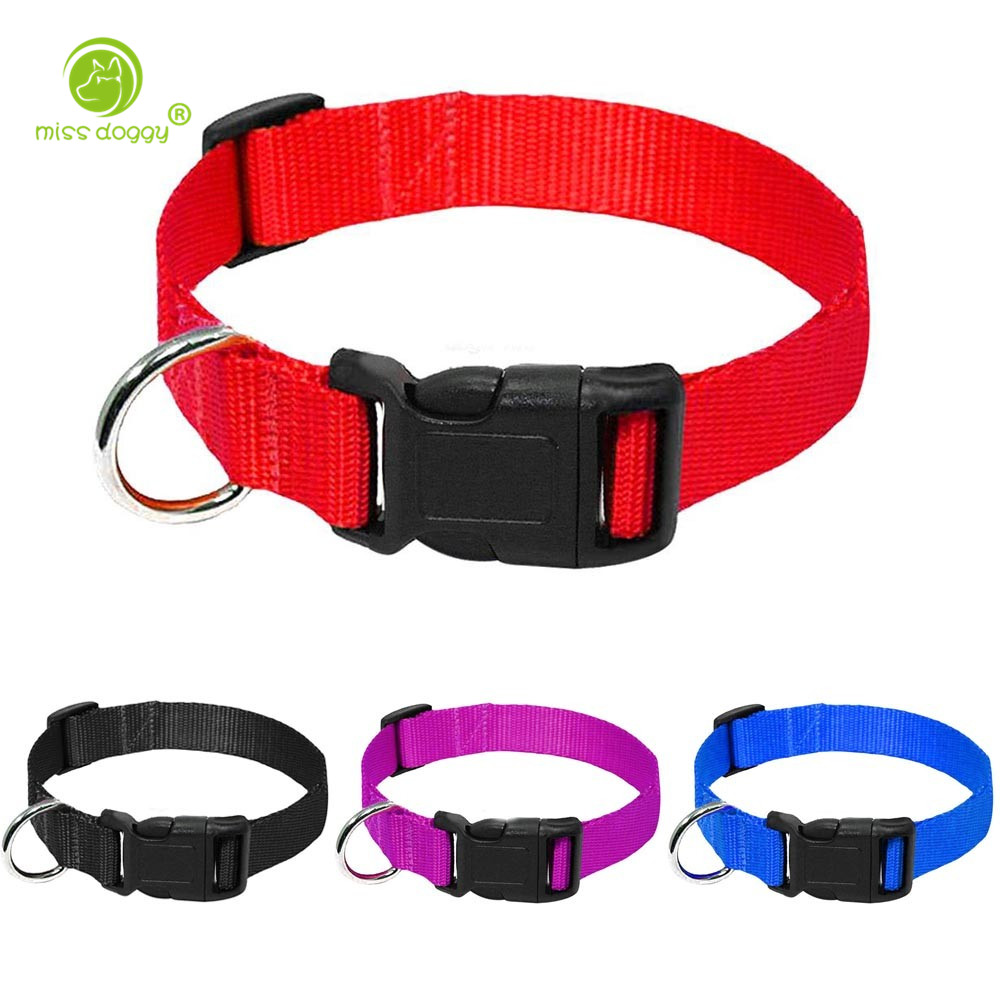 Nylon Webbing Dog Collar Heavy Duty Clip Buckle Pet Collar for Small Medium Dogs Chihuahua Dog Red Black Blue Purple 20