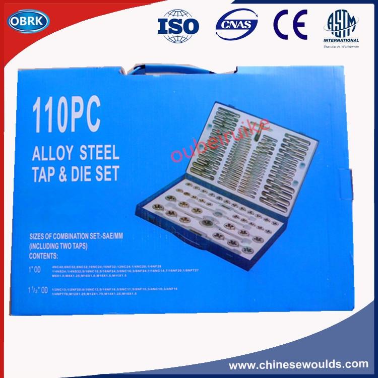 110Pcs Metric & Inch  Alloy Steel Tap & Die Set In Metal Case 20pcs m3 m12 screw thread metric plugs taps tap wrench die wrench set