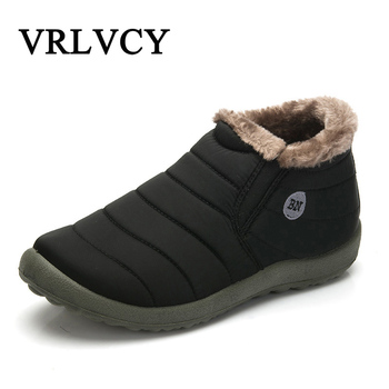 New Fashion Men Winter Shoes Solid Color Snow Boots Cotton Inside Antiskid Bottom Keep Warm Waterproof Ski Boots Обувь