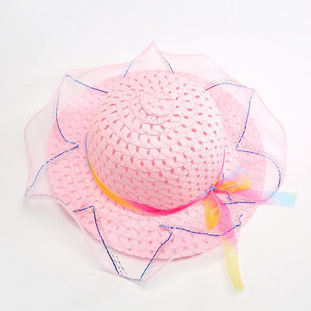 Children Sun Hats Girls Fashion Creative Straw Cap Bowknot Chiffon Decoration Sun Hat Ultraviolet-proof Beach Cap YI0