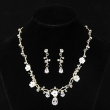 SLBRIDAL Crystal Rhinestones Cubic Zirconia Wedding Jewelry Set Bridal CZ Necklace Set Banquet Party Jewelry Set Women Jewelry
