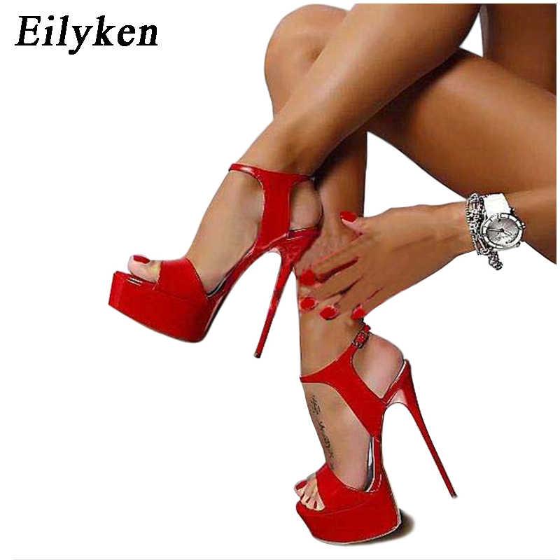 88073222e7c7 Eilyken New Design Buckle Strap Women Pumps Open Toe Stiletto Super High  Heel Sandals Sexy Nightclub