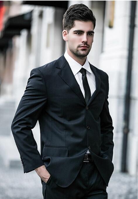 FOLOBE Custom Made Black Slim Fit Men Wedding Suite Groom Tuxedos ...