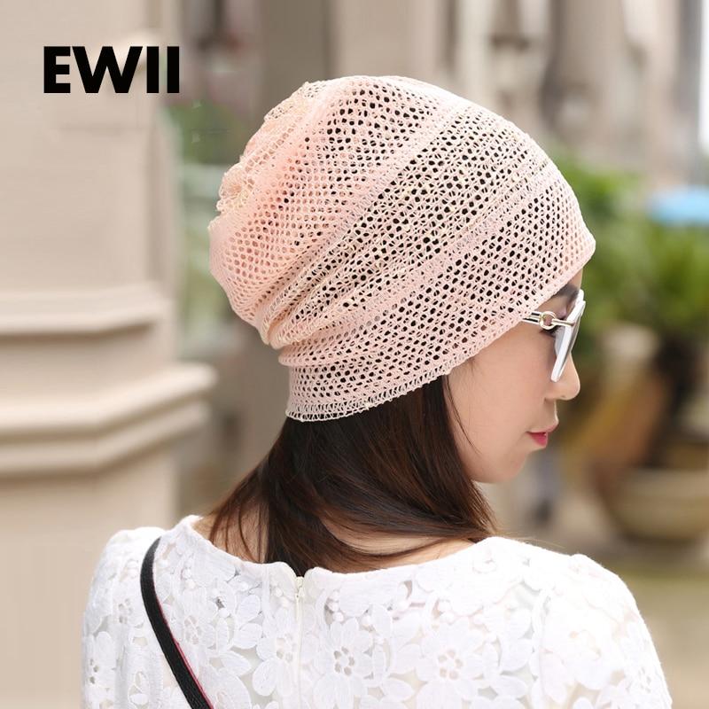 Spring Autumn cap style female turban caps  fashion street hats for women lace beanies thin Skullies hat female caps for autumn