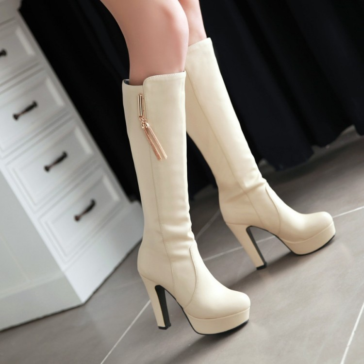 women boots autumn winter warm sexy new fashion pu knee-high waterproof Martin snow boot black white brown high-heeled shoe