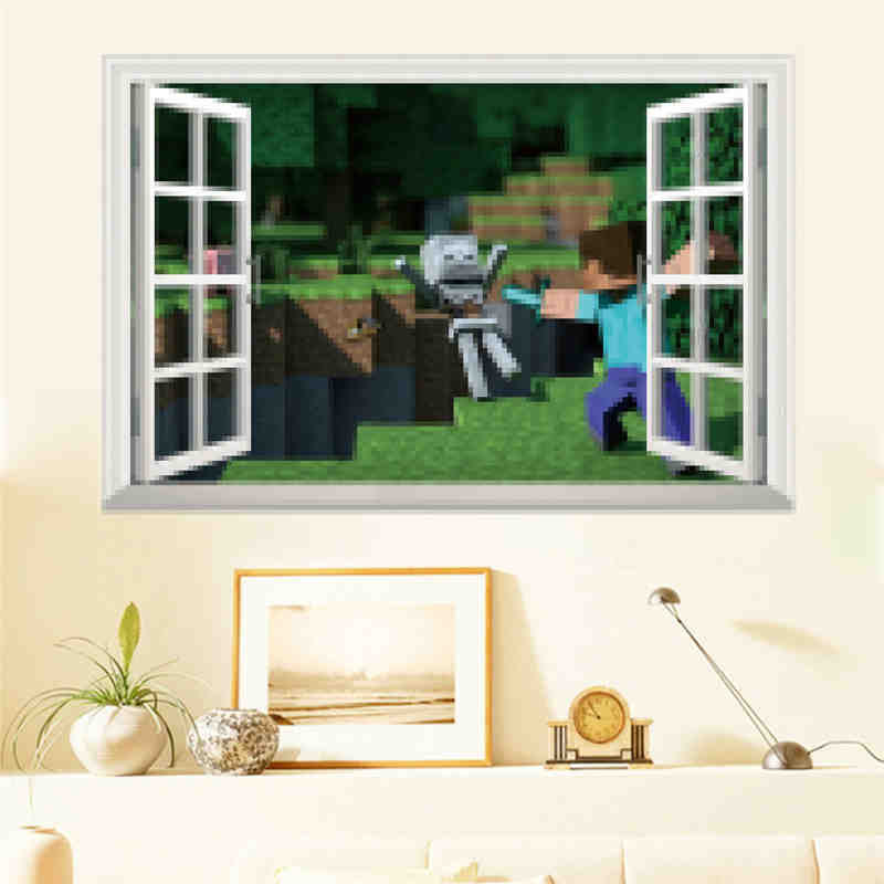 2017 Neue Minecraft Wandaufkleber 3D Tapeten Kinderzimmer Abziehbilder  Minecraft Steve Dekoration Beliebte Spiele Hause In 2017 Neue Minecraft  Wandaufkleber ...