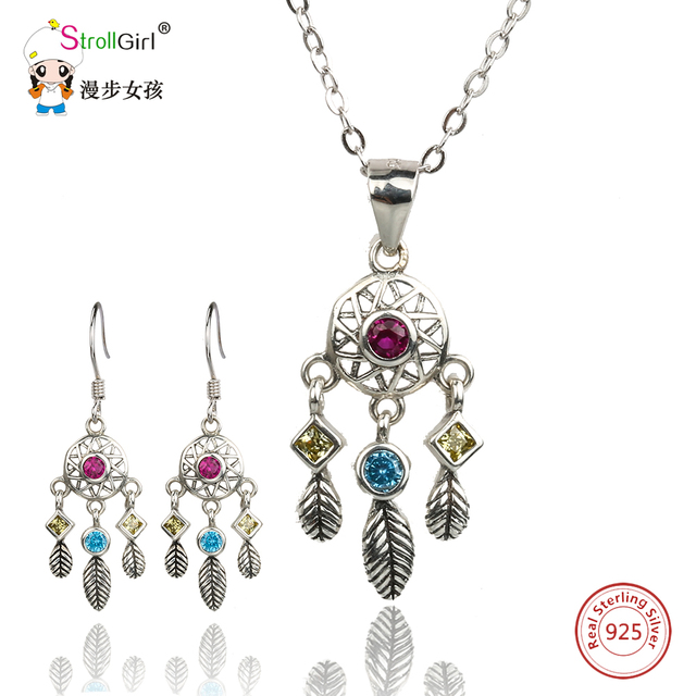 Strollgirl 925 sterling silver dreamcatcher pendants necklace strollgirl 925 sterling silver dreamcatcher pendants necklace earrings jewelry sets for women leaves cubic zirconia aloadofball Choice Image