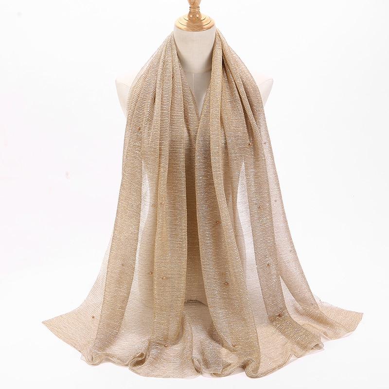 Image 3 - NEW shimmer veils hijab scarf shiny pearls beaded crinkle shawl  fashion muslim hijabs women maxi scarves shawls islamic scarfWomens  Scarves