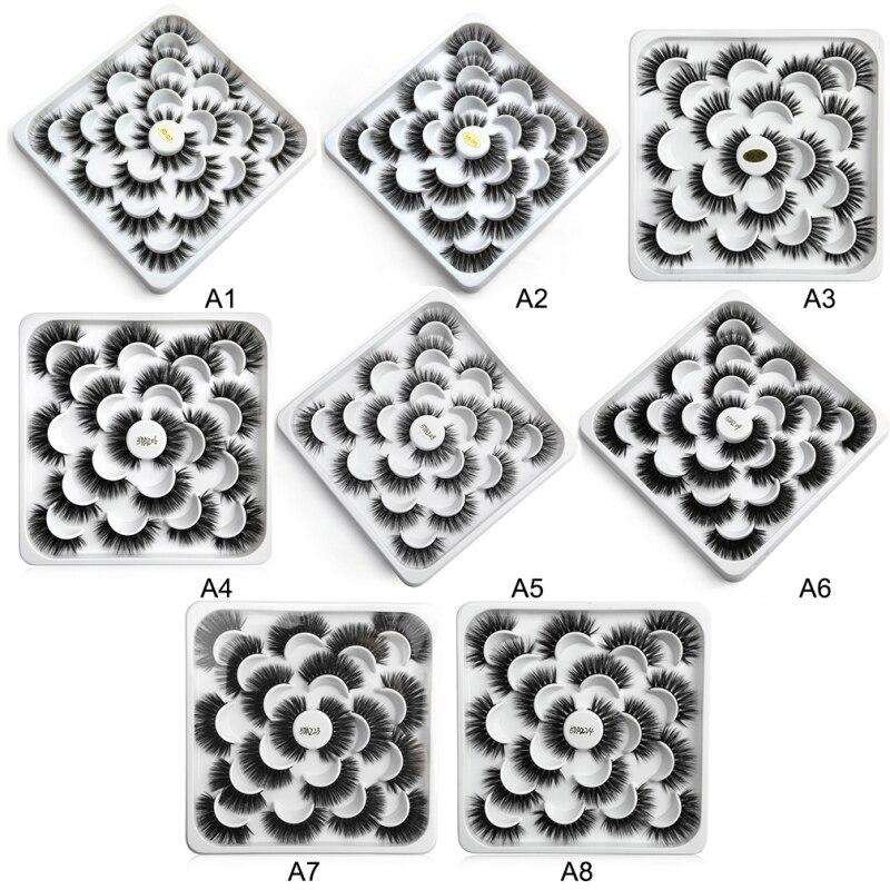 10 Pairs Lotus Discs 3D/5D Mink Hair False Eyelashes Natural Thick Eyelashes Hand Made Natural Long Faux Mink Lashes Makeup Tool