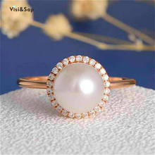 Visisap Large Artificial Pearl Rings for Women Rose Gold Color Elegant Lady Ring Gifts Wholesale Jewelry Dropshipping B2663