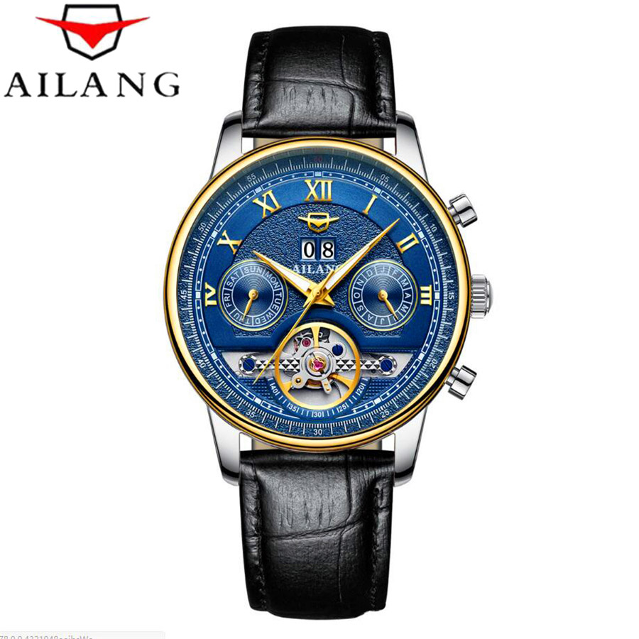 AILANG Mens Watches Top Brand Luxury Automatic Mechanical Watch Tourbillon Clock Leather Casual Business Wristwatch relojes tourbillon business mens watches top brand luxury shockproof waterproof skeleton watch men mechanical automatic wristwatch