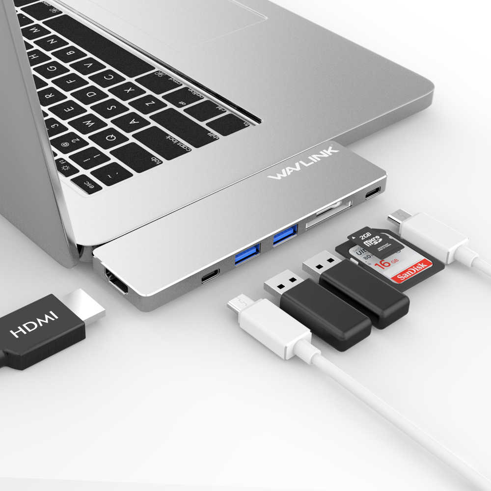 Wavlink المحمولة USB HUB المزدوج منافذ USB C إلى محول HDMI 4 K فيديو usb 3.0 المحور نوع C 7 في 1 مع TF SD فتحة PD ل ماك بوك برو