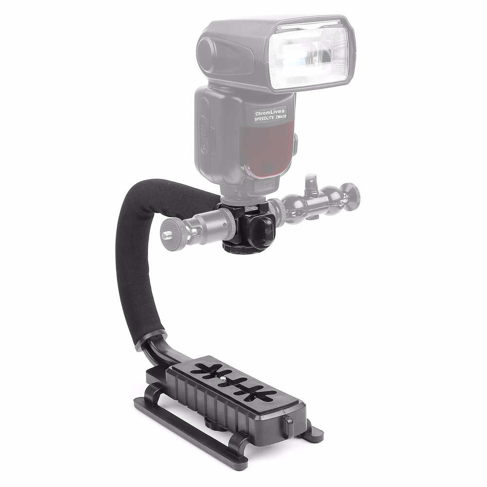 Image 5 - Pro Camera Stabilizer Triple Shoe Mount Video Holder Video Grip Flash Bracket Mount Adapter For Gopro Nikon DSLR SLR iPhone X 8-in Photo Studio Accessories from Consumer Electronics