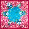 90 cm * 90 cm Moda Bohemia Anacardo y Pequeño Impreso Floral Marca Europea estilo de las mujeres de seda de satén cuadrado grande bufanda
