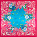 90cm*90cm European Fashion Bohemian Cashew and Small Floral Printed Brand style women silk satin large square scarf