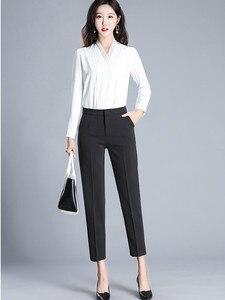Image 4 - JUJULAND kadın pantolon ayak bileği uzunlukta düz pantolon ince kumaş artı boyutu ofis bayan tarzı giyim Yüksek dereceli pantolon 9800