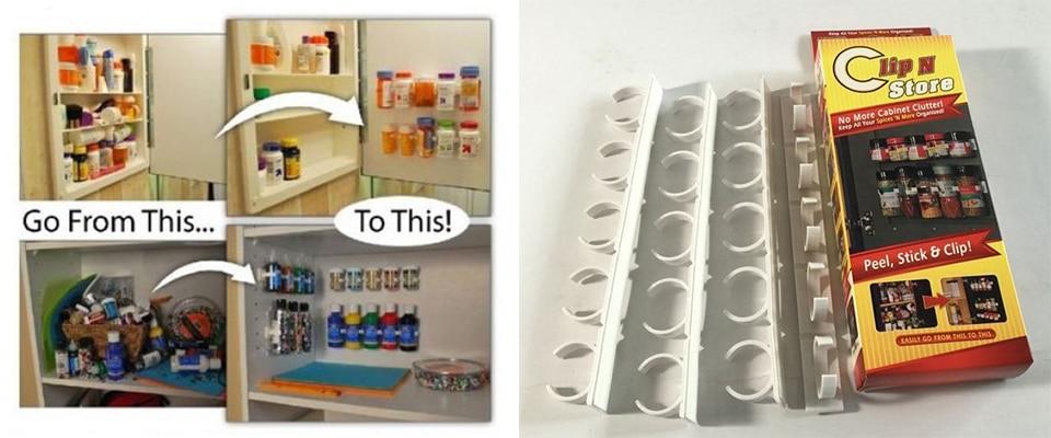 20 PC SET New Kitchen Clip Spice Gripper Jar Rack Storage Holder Wall Cabinet Door Storage Racks Kitchen Tools Bathroom Shelves (1)