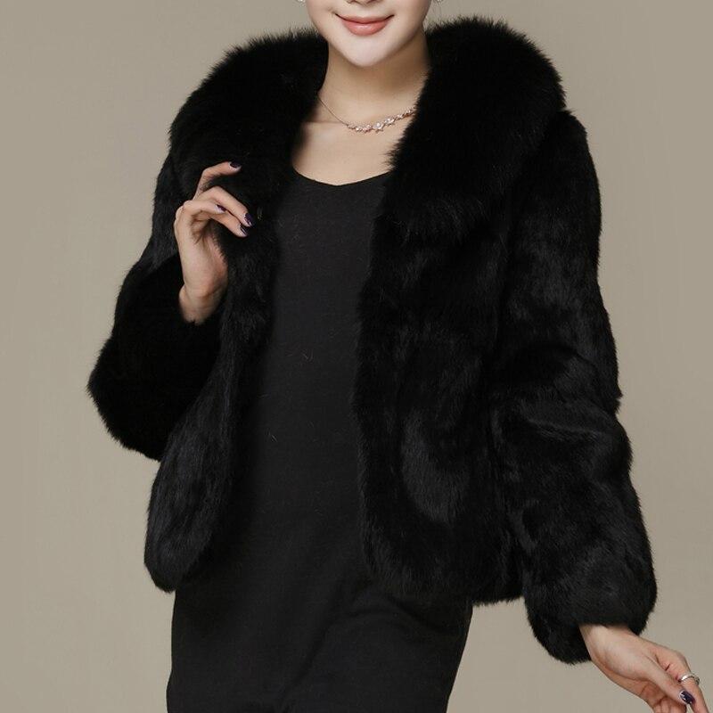 Naturel Gilet Manteau Long Véritable De Hiver Black 100 Col Plus La Femmes Wsr31 Lapin Vrai Taille 2018 Fourrure Veste Renard qR8Sw7