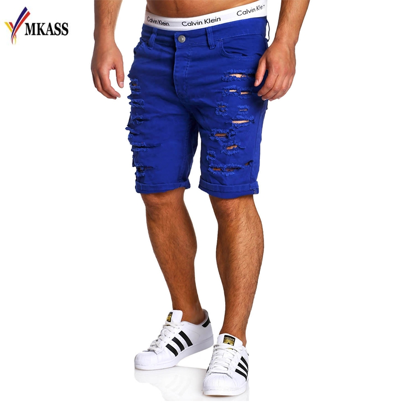 New Summer Men Shorts Cotton Brand Holes Jeans Shorts Fashion Designers Shorts Jeans Men's Slim Jeans Shorts Men Size M-XXL
