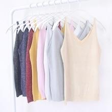 Sexy Women V Neck Sleeveless Shirt Spaghetti Strap Vest Top Knitted Camis Tops все цены