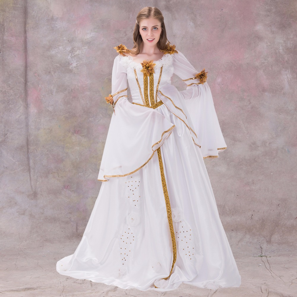 Medieval renaissance dress gothic style white with ribbon for Renaissance inspired wedding dress