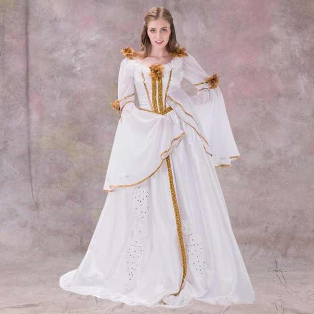Renaissance Medieval 2017 Wedding Dresses A Line Burgundy: Medieval Renaissance Dress Gothic Style White With Ribbon