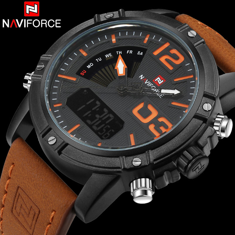 NAVIFORCE marca pantalla Dual reloj de deporte de los hombres de cuarzo Relojes LED banda de cuero analógico Digital muñeca relojes 30 m resistente al agua reloj