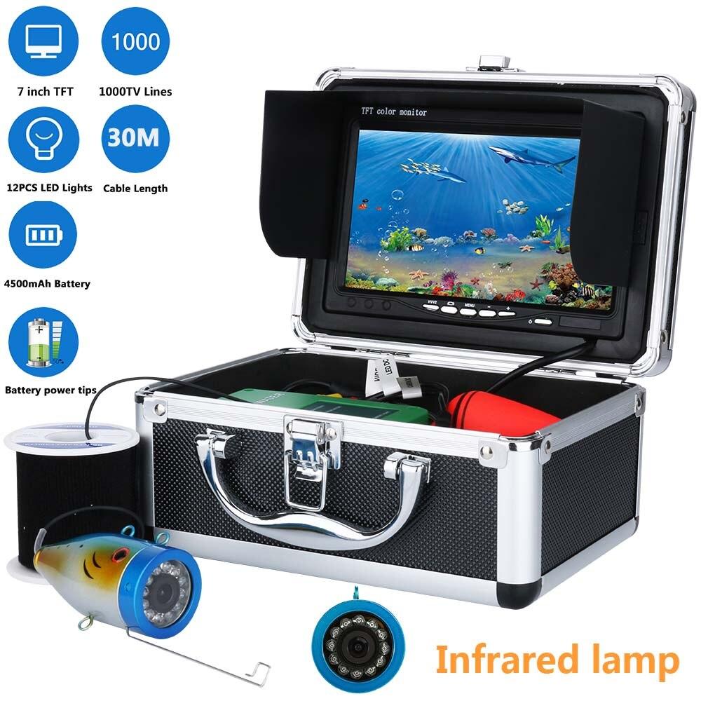 MAOTEWANG 7 Pouces TFT HD 1000tvl caméra De Pêche Sous-Marine Caméra Kit 12 pcs LED Lampe Infrarouge Lumières Détecteur De Poissons 10 m 20 m 30 m