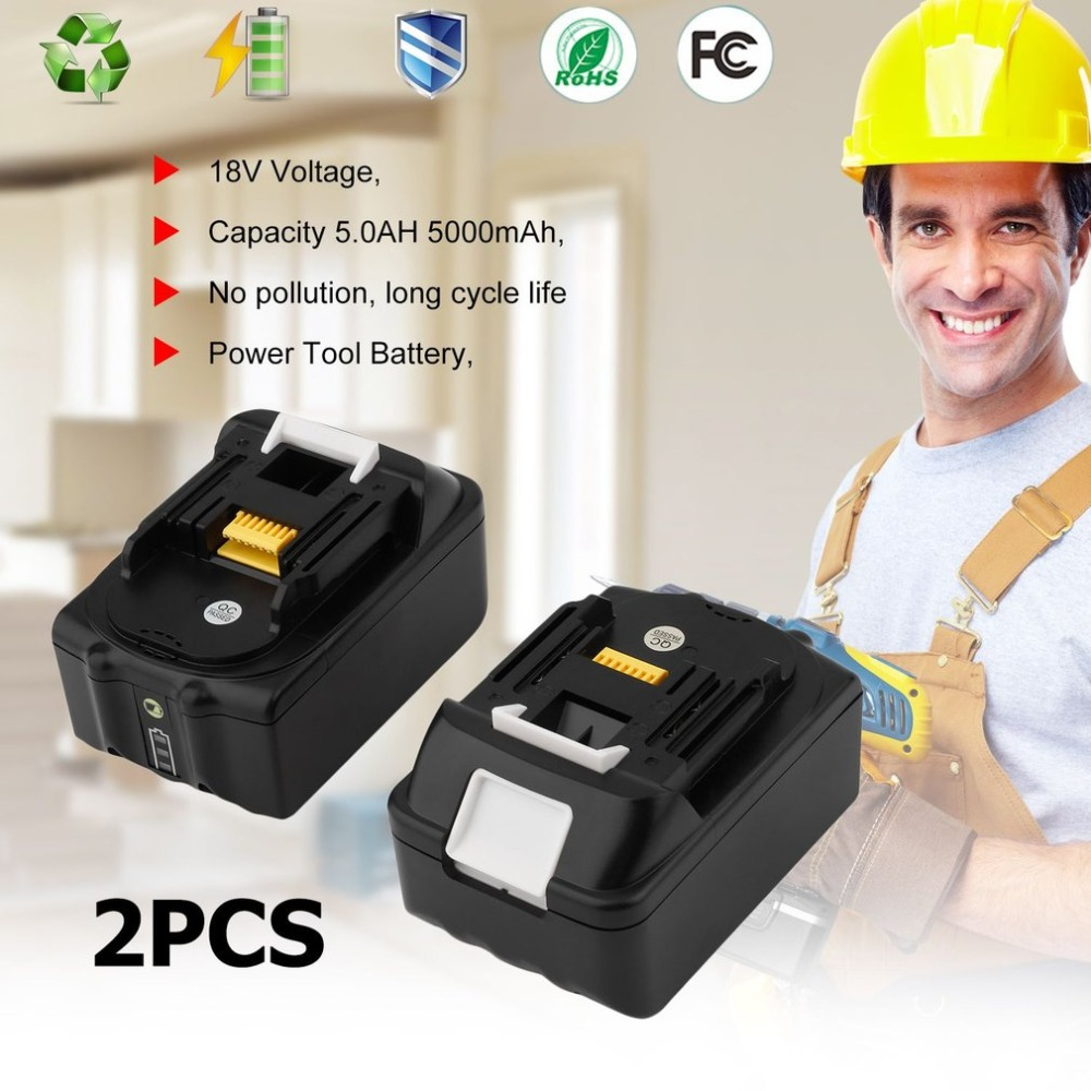 2 PCS Durable Replacement Power tool battery 18V 5.0Ah Lithium Ion Battery For Makita BL1850B Compact Replacement Batteries 18v 6000mah rechargeable battery built in sony 18650 vtc6 li ion batteries replacement power tool battery for makita bl1860