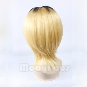 Image 2 - Haikyuu!! Kozume Kenma Cosplay Wig 35cm Short Straight Heat Resistant Synthetic Hair Black Gradient Blond Gold Anime Wig