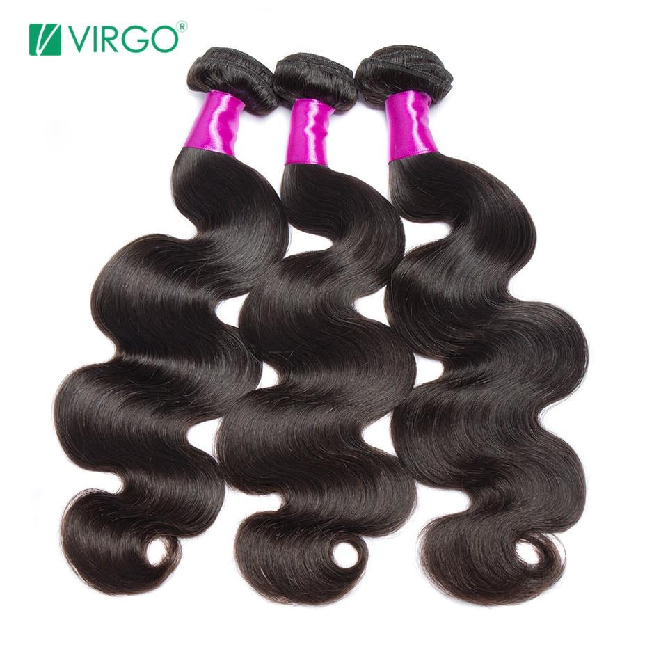 Virgo Hair Company Indian Body Wave Human Hair Weave Bundles 1 / 3 PCS Hair Extensions Natural Remy Hair