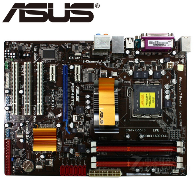 ASUS P5P43TD original motherboard DDR3 LGA 775 16GB USB2.0 for Q8200 <font><b>Q8300</b></font> cpu P43 Desktop motherborad image