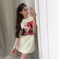 Runway Design Fashion Cotton Print Summer Top 2018 New Short Sleeve Snow White Pattern Letter Casual