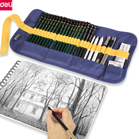 Deli Pprofessional Art Sketch Set Painting Art Supplies Paper Eraser Charcoal Pencil Extender Knife Canvas Bag Kid Drawing Gift