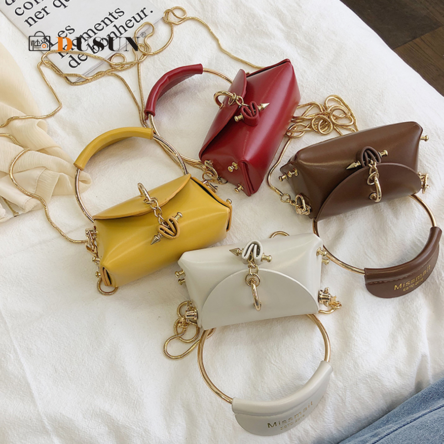 Mini Heart Chain Women's Handbags Purse Pu Ladies Round Top-handle Hand Bags Small Woman Shoulder Evening Clutch Totes Bags 2019