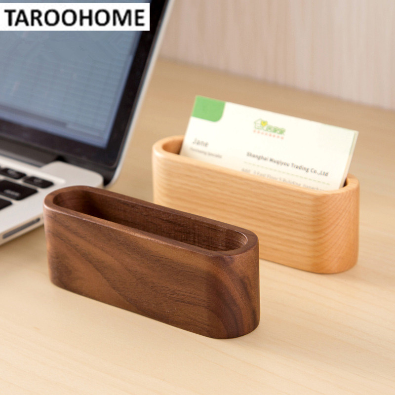 1pc wood box office desktop decoration cardcase storage for Creative business card holders