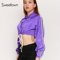 Sweetown Women Cropped Jacket Casaco Patchwork Long Sleeve Turn Down Collar Coats And Jackets Lace Up