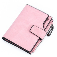 Fashion Female Purse Short Purse Lady Letter Snap Fastener Zipper Clutch Wallet Solid Vintage Matte Women
