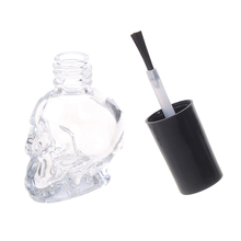 Skull Fashion 10ml Transparent Glass Empty Nail Polish Refillable Bottle With Brush Small Travel Makeup Cosmetic Containers