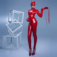 Plus Size Erotic Underwear Sexy Cat Woman Zentai Zipper Crotchless Costume PVC Leotard Latex Catsuits Open Crotch Bodysuit Mask