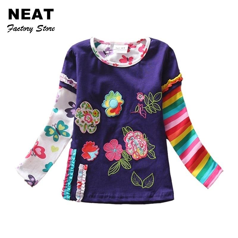 Retail Children t Shirts Kids Flower t-shirt Child Girls Long Sleeve T Shirt Child Clothing Neat Kids Shirts L220 Mix