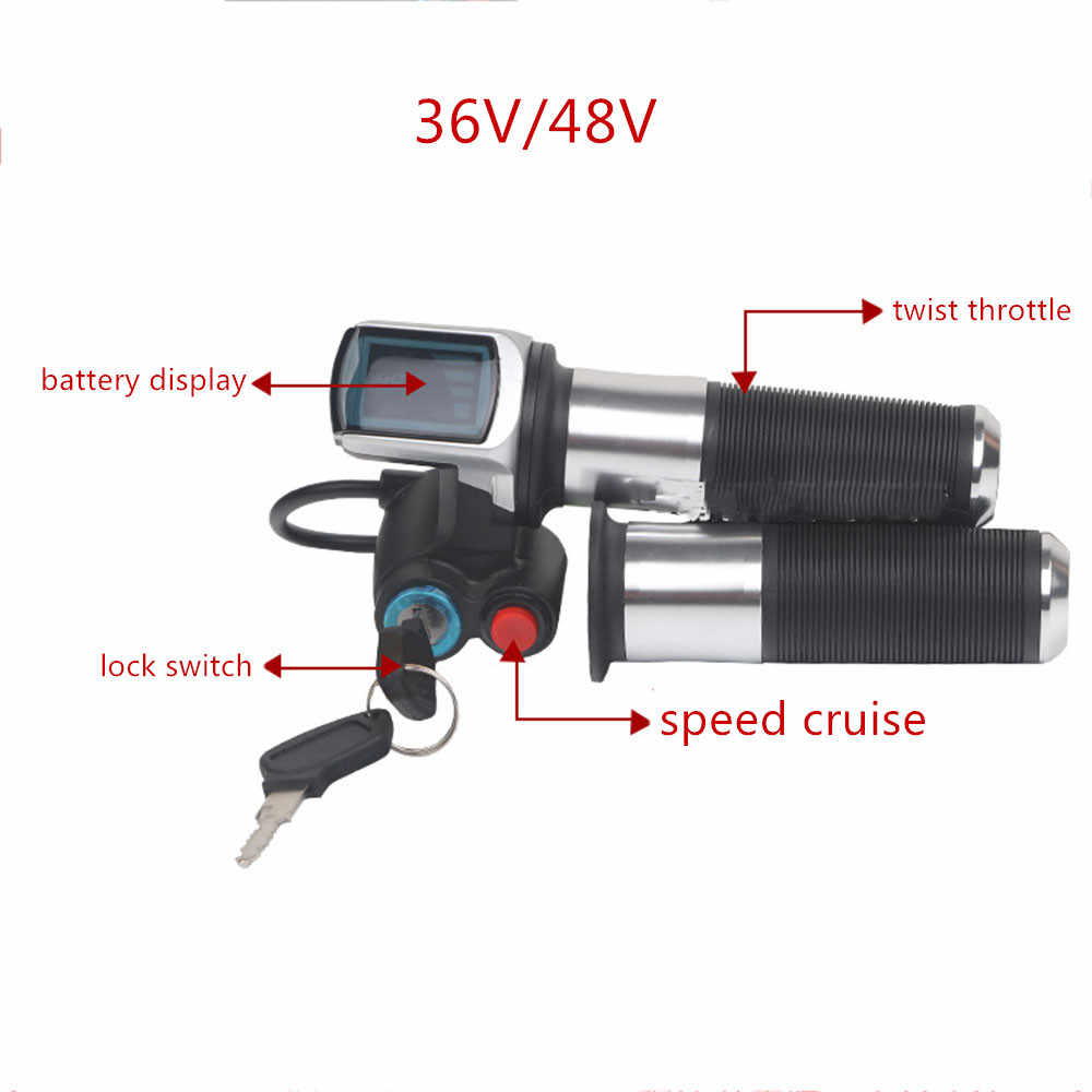36V 48V Electric bicycle/scooter/motorcycle/ebike speed gas handle/throttle/Accelerator Throttle twist Grip silver color