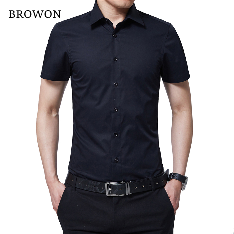 BROWON Brand New Formal Shirt Men Short Sleeve Shirt Turn Down Color Slim Fit Casual Shirt Plus Size M-5XL Camisa Masculina
